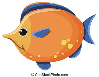 Cute yellow fish on white background