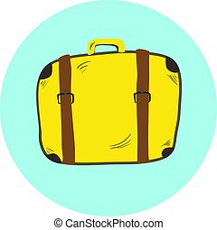 Cute yellow hand drawn suitcase, travel bag