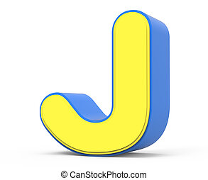 Cute Yellow Letter J 3d Rendering Cute Yellow Letter J Isolated