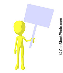 Cute Yellow Silhouette Guy Holding A Blank Sign - Cute...