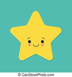 Cute yellow smiling vector little star on blue background