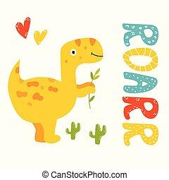 Cute yellow trex dino. Roarr greeting card - Cute hand drawn...