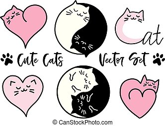 Cute yin yang cats, vector set