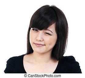 Cute Young Asian Woman Winking - Portrait of a beautiful ...