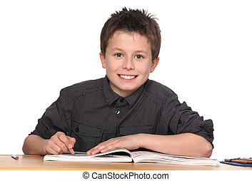 young boy learning - cute young boy learning with white ...