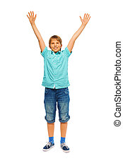Cute young boy on a white background