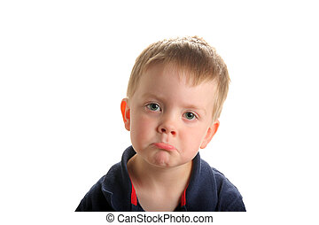 Cute young boy pouting - Cute young boy with blond hair and...
