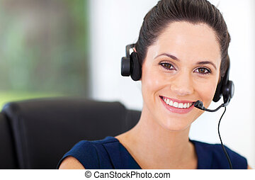 cute young business call center operator