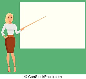 Cute young business woman pointing at the empty standing presentation display board. Vector illustration