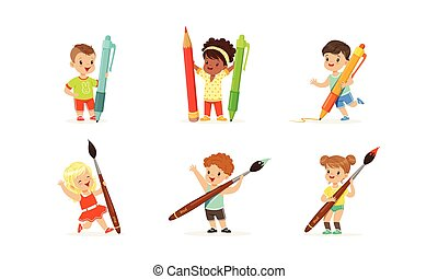 Cute Young Children Holding Big Pencils and Pens