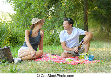 cute young couple drinking red wine on a picnic