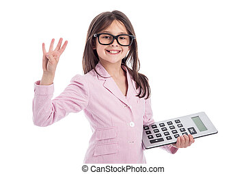 Young girl counting a calculator and holding up four fingers. Isolated on white background.