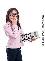 Cute Young Girl with Glasses and a Calculator. - Clever girl...