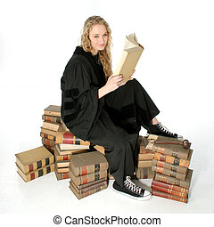 Cute Young Judge - Young woman sitting on 70 year old law...