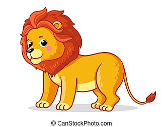 Cute young lion stands on a white background.