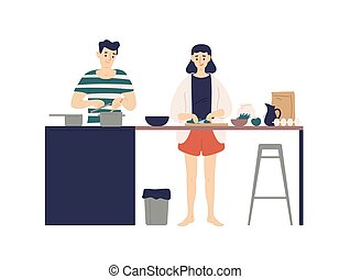 Cute young man and woman cooking meals in kitchen. Smiling boy and girl making lunch or dinner together at home. Daily life of happy romantic couple. Flat cartoon colorful vector illustration.