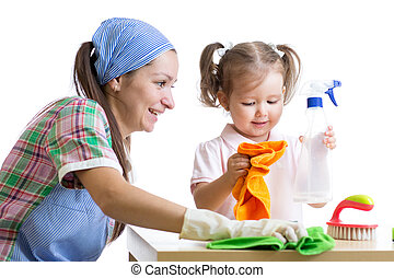 mother teaches daughter child cleaning room