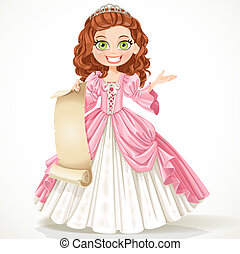 Cute young princess with curly brown hair hold a blank sheet of parchment