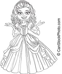 Cute young princess with curly hair outlined
