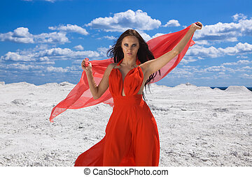 Cute young sexy woman in red dress on the snow