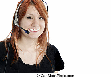 Attractive young receptionist with telephone headset isolated on white horizontal