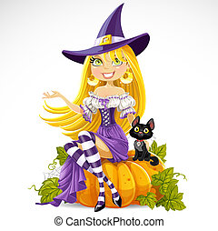 Cute young witch sits on a pumpkin with a familiar cat isolated on white background