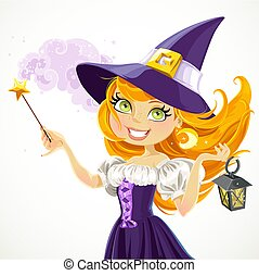 Cute young witch with magic wand and flashlight isolated on a white background