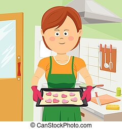 Cute young woman baking cookies in kitchen