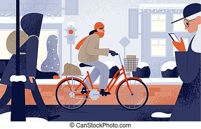 Cute young woman dressed in outerwear riding bicycle in...