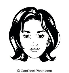 cute young woman head pop art line style