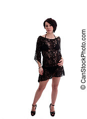 lacey dress - cute young woman in a lacey dress