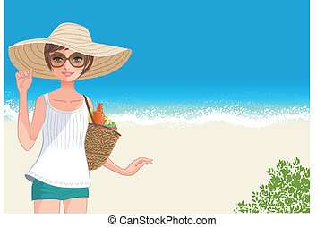 Cute young woman in straw wide brimmed hat smiling at beach...