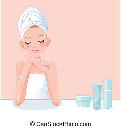 Cute young woman in towel applying moisturizer