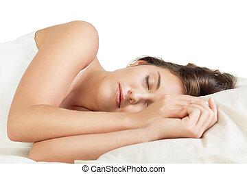 Cute young woman sleeping