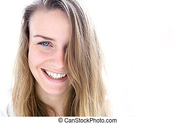Cute young woman smiling