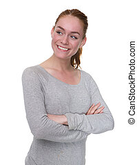 Cute young woman smiling with arms crossed