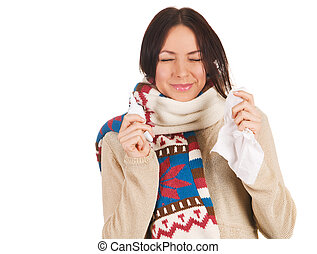 Cute young woman sneezing