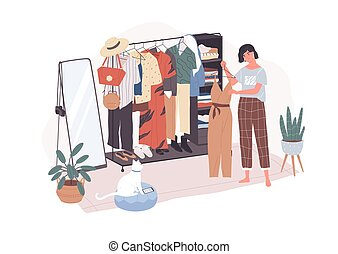 Cute young woman standing in front of hanger rack and trying to choose outfit. Smiling girl in dressing room. Funny female character holding clothes. Cartoon vector illustration in flat style.