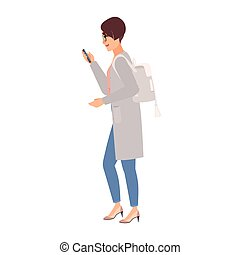 Cute young woman wearing casual clothing, backpack and glasses holding smartphone and texting while walking. Pretty girl on street. Side view. Colorful vector illustration in flat cartoon style.