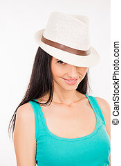 cute young woman with hat smiling