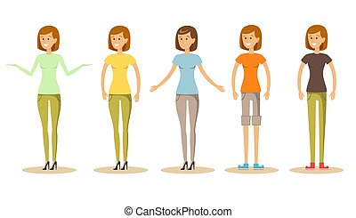 Cute young women in different clothes vector illustration.