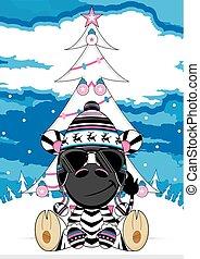 Cute Zebra and Christmas Tree