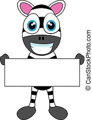 Cute Zebra holding blank sign