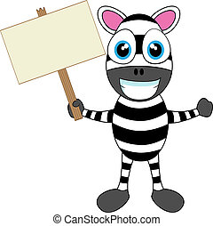 Cute Zebra holding wood sign