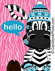 Cute Zebra in Wooly Hat - Cute Cartoon Zebra in Wooly Hat...