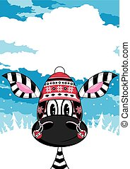 Cute Zebra in Wooly Hat - Cute Cartoon Zebra Wearing Wooly...