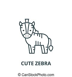 Cute zebra line icon, vector. Cute zebra outline sign, concept symbol, flat illustration
