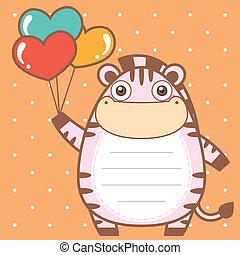 cute zebra of scrapbook background.