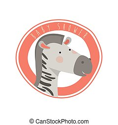 cute zebra with circular frame