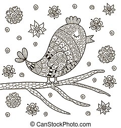 Cute zentangle bird sitting on branch for coloring book